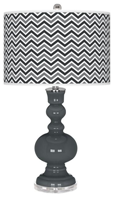 Contemporary Black of Night Narrow Zig Zag Apothecary Table Lamp contemporary-table-lamps