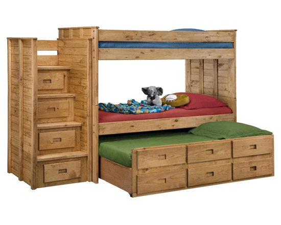 Chelsea Home - 109 in. Twin Over Twin Bunk Bed with Staircas - NOTE: ivgStores DOES NOT offer assembly on loft beds or bunk beds.. Includes slat packs and twin trundle with three drawers. Mattresses not included. Four step staircase with drawers. Rustic style. Metal brackets are used to connect the rails to the headboard and footboard. Rails with 1.25 in. cleat which is glued and screwed to the rail for extra strength to support the mattress foundation. Drawer is mounted on a rolling metal glide for easy opening and closing. Exceed all safety standards of the consumer product safety commission. Constructed for strength and durability. Can hold up to 400 lbs. of distributed weight. Warranty: One year. Made from solid pine wood. Ginger stain finish. Made in USA. Assembly required. Distance between top and bottom bunk: 28 in.. Overall: 109 in. L x 42 in. W x 67 in. H (450 lbs.). Bunk Bed Warning. Please read before purchase.Warning: Falling hazard, bunk beds should be used by children 6 years of age and older!