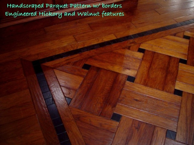 Hickory plank parquet traditional hardwood flooring Wood floor design ideas pictures