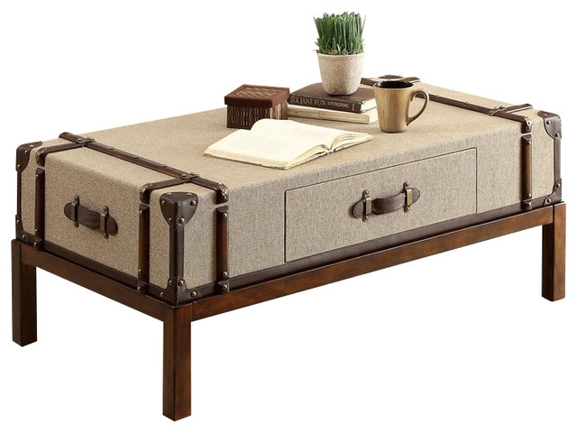 Riverside Furniture Bon Voyage Suitcase Cocktail Table in Aged Cognac Wood transitional-coffee-tables
