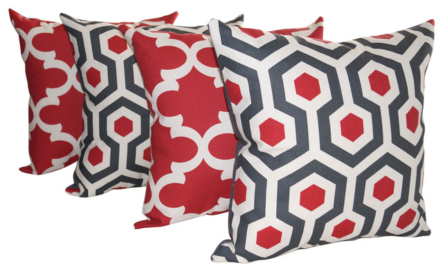 Throw Pillows Girly : Premier Prints Magna and Fynn Timberwolf Red and Gray Throw Pillows - Set of 4 - Contemporary ...