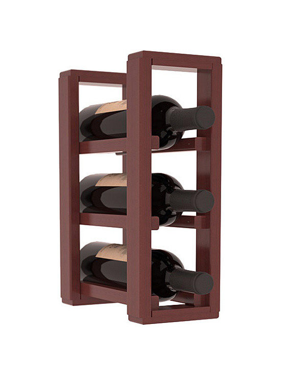 Wine Racks America® - 3 Bottle Counter Top/Pantry Wine Rack in Redwood, Cherry Stain + Satin Finish - These counter top wine racks are ideal for any pantry or kitchen setting.  These wine racks are also great for maximizing odd-sized/unused storage space.  They are available in furniture grade Ponderosa Pine, or Premium Redwood along with optional 6 stains and satin finish.  With 1-10 columns available, these racks will accommodate most any space!!