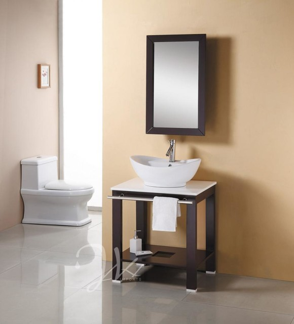 "27.6"" Draco Vessel Sink Vanity - modern - bathroom vanities and"