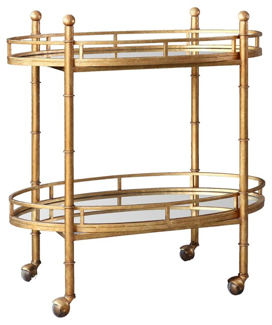 Bungalow 5 Normandy Bar Cart, Gold traditional bar carts