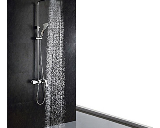 Shower Faucets - Chrome Finish Contemporary Shower Faucet (Handheld+Showerhead)--FaucetSuperDeal.com