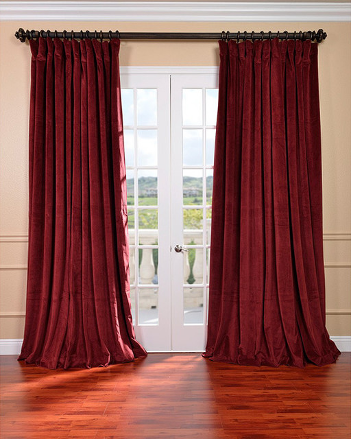 Burgundy Velvet Blackout Extra Wide Curtain Panel ...