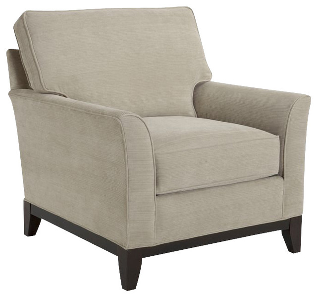Broyhill Perspectives Beige Chair with Cognac Wood Finish modern-armchairs