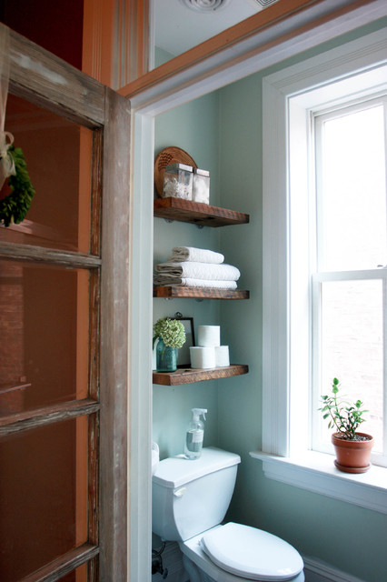 Salvaged Bathroom Shelves eclectic