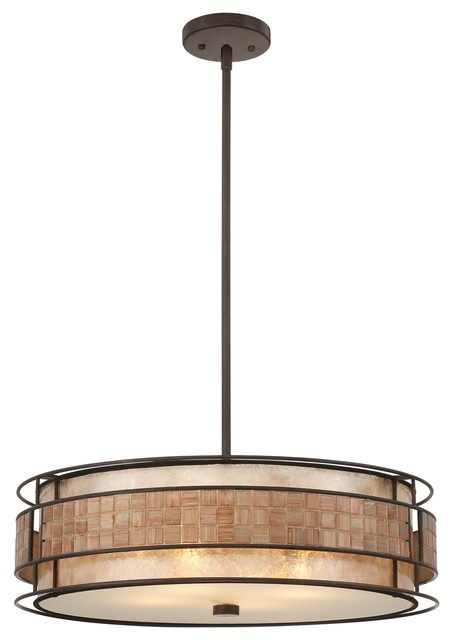 Quoizel mc8420crc mica contemporary pendant light for Modern craftsman lighting