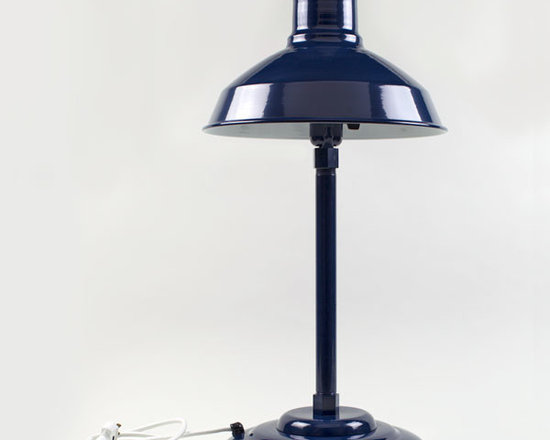 The Drake Retro Desk Lamp - Inspired by 40s desk lamps, our Drake Retro Desk Lamp features our industrial warehouse shade mounted to a weighted metal table lamp base. Enjoy with Free Shipping!