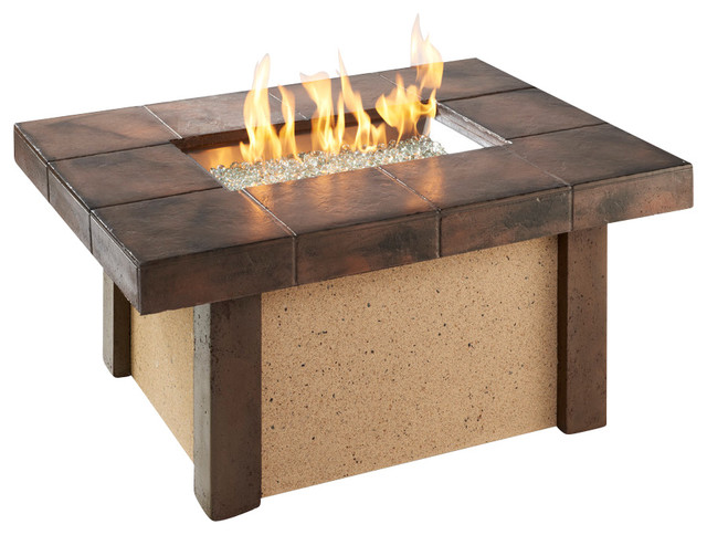 Rivers Edge Rectangular Coffee Height Gas Fire Pit Table Contemporary Fire Pits