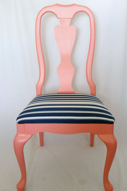 Coral and Navy Chair By Life at Second Glance contemporary-dining-chairs