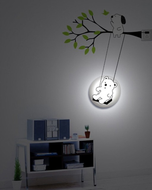 Decorative Wall Night Lights : DIY 3D Decorative Wall Night Light for Babys Bedroom Swing Bear - Modern - other metro - by ...