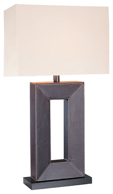 Table Lamp - Leather Off-White Fabric Shade traditional-table-lamps