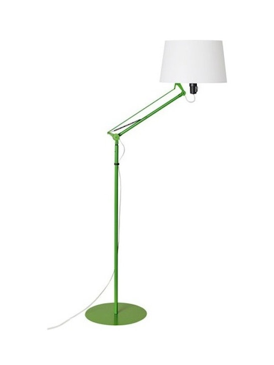 Tango Lighting - Tango Lektor Floor Lamp - Lektor is a metallic adjustable floor Lamp design by Gabriel Teixido in the year 2010 for Carpyen. Lektor floor lamp has a white polycarbonate shade with a white, orange, stone gray, or moss green metal structure. Carpyen Lektor Floor lamp has direct and diffuse light. This lamp is fully adjustable and features a movable arm. It has a switch on the lampholder.