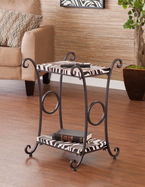 Upton Home Castell Zebra Animal Print Accent Side Table Contemporary Side Tables And End