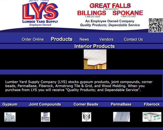 """Lumber Yard Supply Co. Stocked Products - Lumber Yard Supply Company (LYS) stocks gypsum products, joint compounds, corner beads, PermaBase, Fiberock, Armstrong Tile & Grid, and Wood Molding. When you purchase from LYS you will receive """"Quality Products; and Dependable Service""""."""