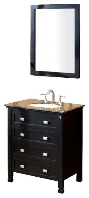 Fresca Wilson Classic Single Sink Bathroom Vanity w/ Baltic Brown Countertop modern-bathroom-vanities-and-sink-consoles