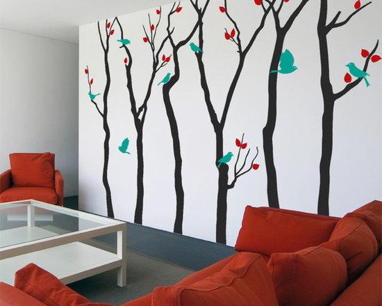6 Leafy Birch Trees with 9 Birds - Original design © 2012 Wall Definition.
