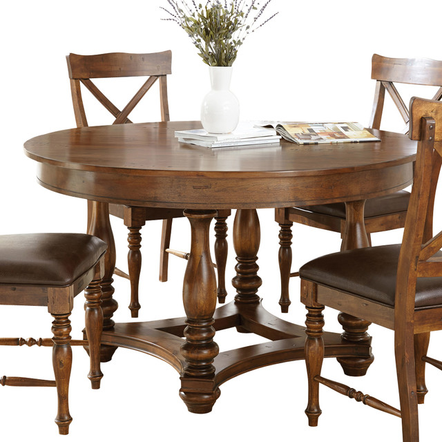 Steve silver wyndham round dining table in distressed for Traditional dining table for 8
