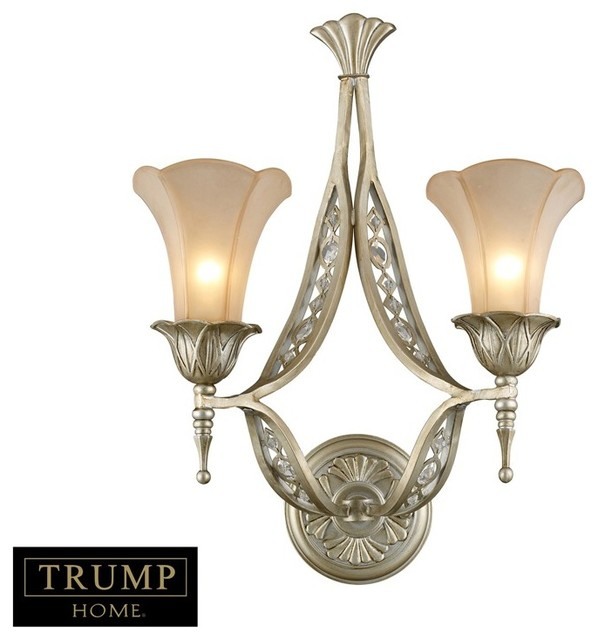 Wall Sconces Nyc: Trump Chelsea 2 Light Wall Bracket With Embedded Crystal