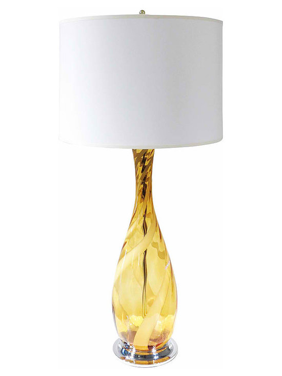"Italian Glass Lamp on Chrome Base - Gorgeous Deep Gold Swirl Murano Glass Lamp on Chrome base with new nickel socket and hardware, wiring, harp and finial. Glass is in mint condition and has paper label intact reading, ""Made in Italy""."