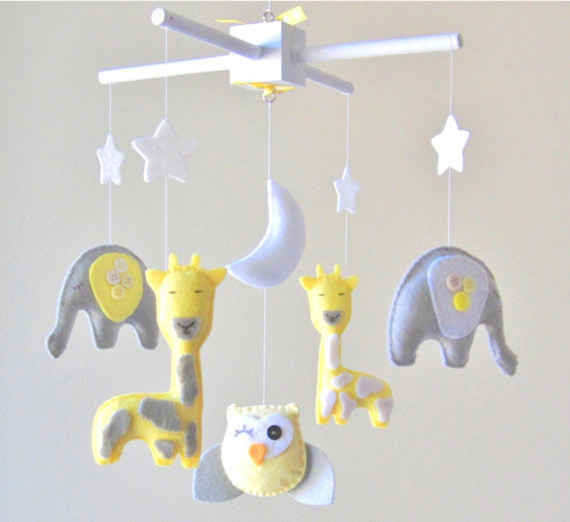 Baby Mobile, Elephant, Giraffe, Owl by Lovefelt Creations contemporary-mobiles