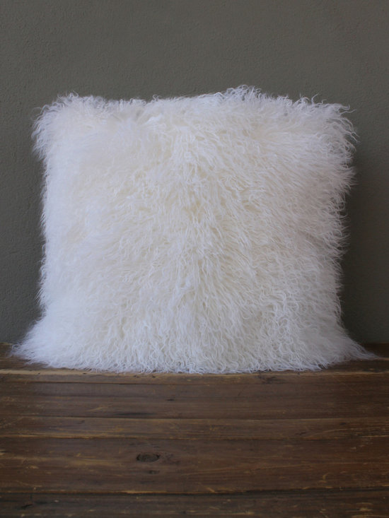 white shearling pillow - view this item on our website for more information + purchasing availability: http://redinfred.com/shop/category/free-shipping/white-shearling-pillow/