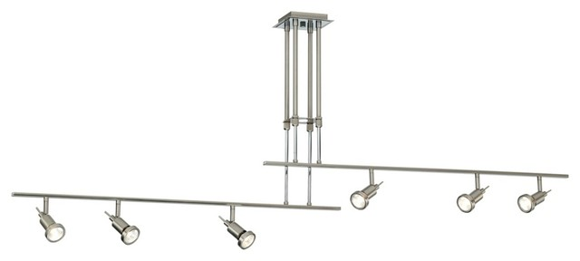 Two Rail Adjustable 6-Light Ceiling Fixture contemporary-tracks-and-rails