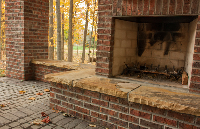 Paver patios outdoor fireplaces and firepits rustic for Vive exterior design indianapolis