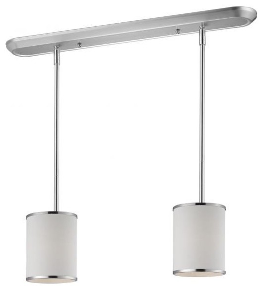 Two Light Chrome White Shade Drum Shade Island Light
