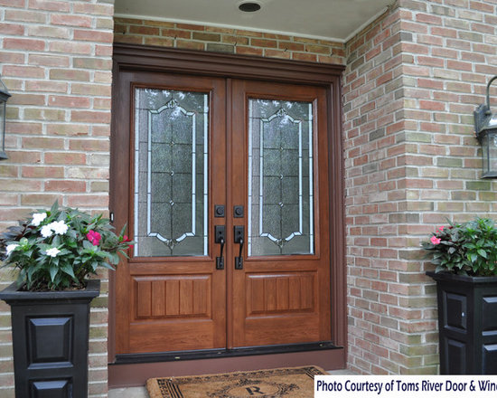 ProVia - Doors - The stunning double door with  Florence glass offers an impressive entry into this traditional center hall colonial home in Ocean County, NJ.