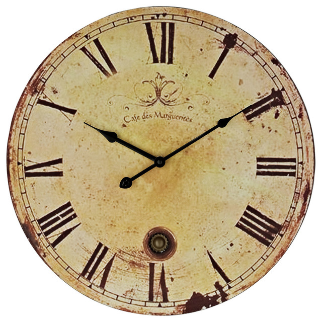 Vintage Wall Clock in Antique Brown - Modern - Wall Clocks - by LexMod