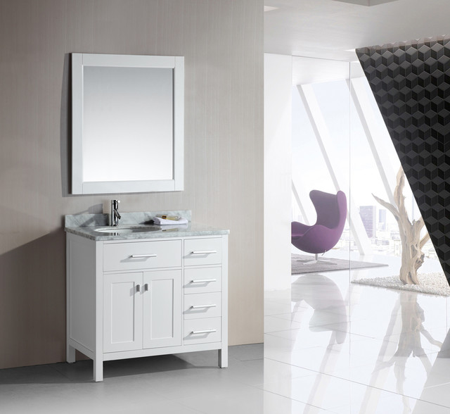 36 Inch Farmhouse Sink White : London 36-Inch Single Sink White Vanity Set with Right Drawers ...