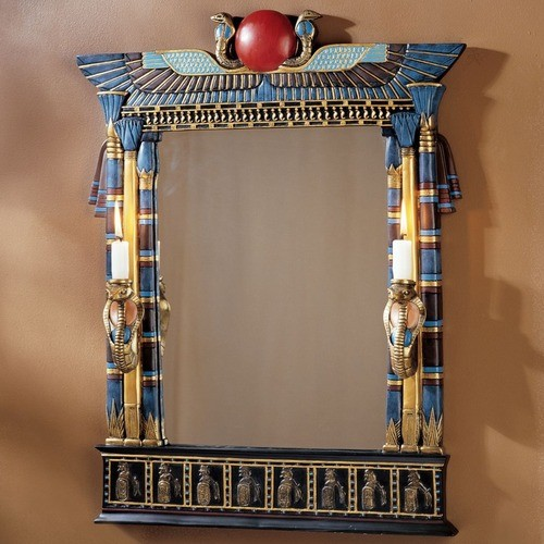 Wadjet Egyptian Wall Mirror With Cobra Sconces Modern Wall Mirrors