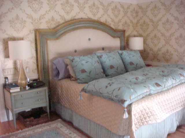 Hand cut stenciled walls and custom painted cornises traditional-bedroom