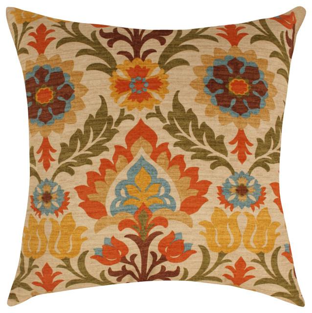 Waverly Santa Maria Throw Pillow, Adobe - Traditional - Decorative Pillows - by Land of Pillows