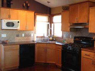 Help choosing between new backsplash or re-stain kitchen ...