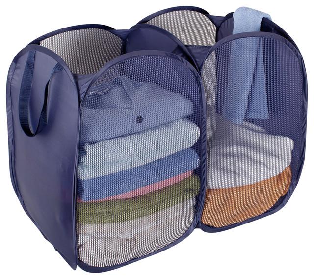 Storageideas Foldable Pop Up Mesh Hamper 2 Compartment