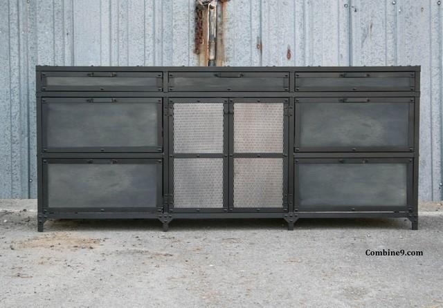 Vintage Industrial File Cabinet. Mid Century Modern. Steel and reclaimed wood