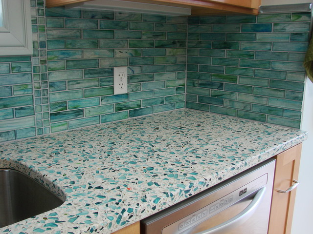 Contemporary kitchen countertops for Crushed glass countertops