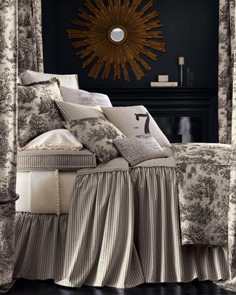 Sydney Bed Linens Ruffled Toile Standard Sham traditional-shams