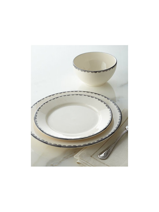 Horchow - 12-Piece First Love Dinnerware Service - Love at first sight. This charming, deceptively simple dinnerware features diminutive scalloped borders that are hand sponge-painted, so slight irregularities in pattern are to be expected. Made of earthenware. Hand painted. Dishwasher safe. 12-piec...