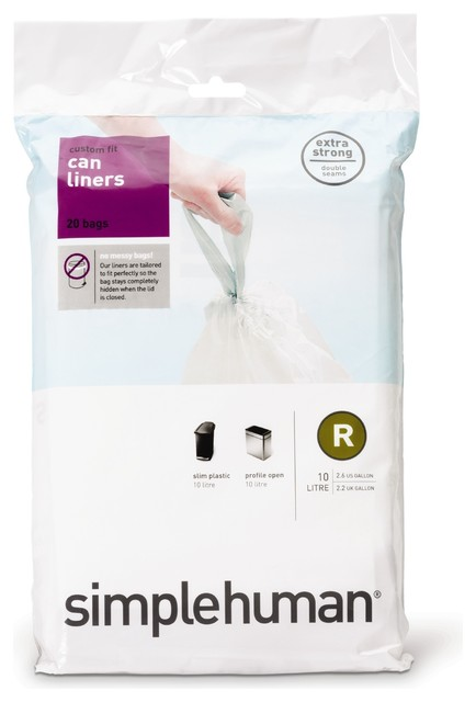 Code R Custom Fit Can Liners, 10 Liter, 20 Pack modern-trash-and-recycling-accessories