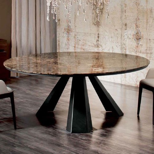 Italia Eliot Round Marble Dining Table 71 Inch Modern Dining Tables