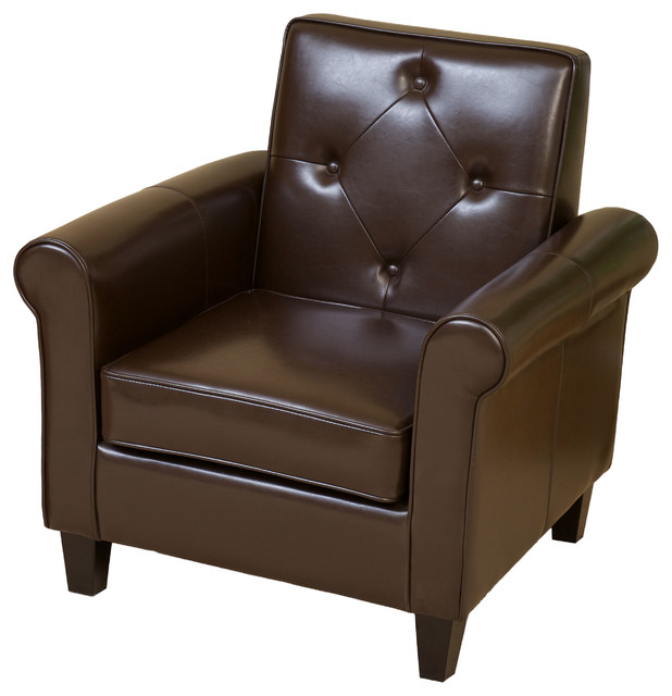 Barzini Leather Club Chair Brown Traditional Armchairs And Accent Chairs