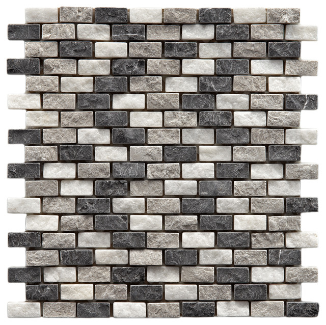 SomerTile 12x11.5-inch Griselda Subway 0.625x1.5-inch Charcoal Natural Stone Mos contemporary-tile