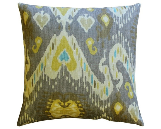 Pillow Decor - Pillow Decor - Solo Gray Ikat Throw Pillow 20 x 20 - You'll love the combination of rich buttery yellows, robin's egg blue, and warm gray in this contemporary Ikat design. Made from a soft yet durable 100% cotton fabric, this pillow combines the artistic beauty of Ikat with contemporary styling. Suitable for both formal and informal spaces, the soft colors make this a versatile home accent choice.