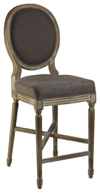 Medallion Oak French Country Counter Stool in Aubergine Brown Linen transitional-bar-stools-and-counter-stools