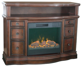 Shop allen + roth Walnut Electric Fireplace and Media Mantel at Lowes.com